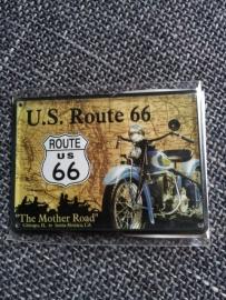Metaalplaatje Route 66  8 x 11 cm