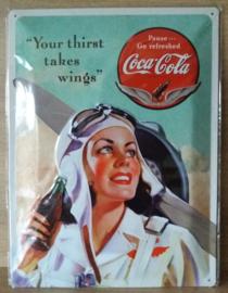 Metaalplaat Coca Cola 30x40cm in reliëf