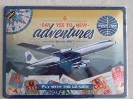 Metaalplaat PanAm luchtvaartmaatschappij 30x40cm in reliëf