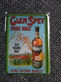 Metaalplaatje Whiskey 8 x 11 cm Glen Spey Pure Malt