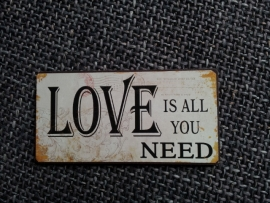 "Magneet spreuk ""Love is all you need"""