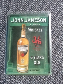 Metaalplaatje Whiskey 8 x 11 cm John Jameson & son's