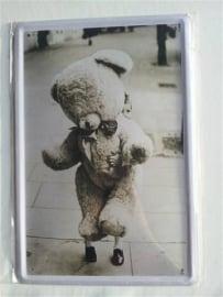 Metaalplaat teddybeer