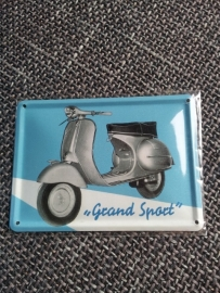 Metaalplaatje Vespa 8 x 11 cm Grand Sport