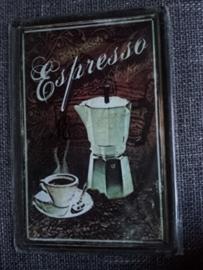 Metaalplaat koffie Espresso