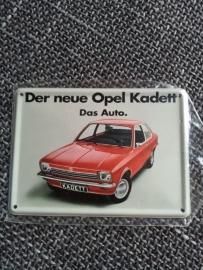 Metaalplaatje Opel 8 x 11 cm Kadett