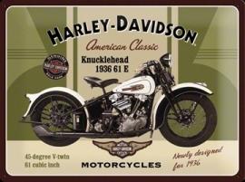 Metaalplaat Harley Davidson Knucklehead 1936 61 E