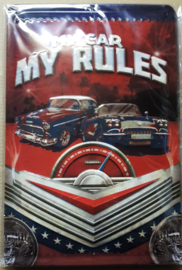 "Metaalplaat Chevrolet ""my car, my rules"""