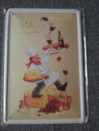 Metaalplaat Kaas/wijn