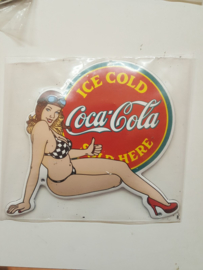 Emaille logo plaatje pin-up Coca Cola