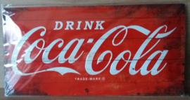 Metaalplaat Coca Cola 25x50cm in reliëf