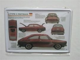 Metaalplaat Volkswagen type 3 Fastback