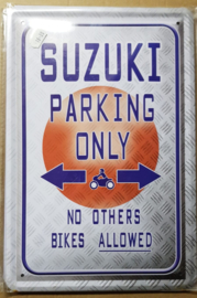 Metaalplaat Suzuki Parking Only