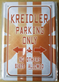 Metaalplaat Kreidler parking only