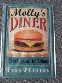 Metaalplaat hamburger Molly's Diner