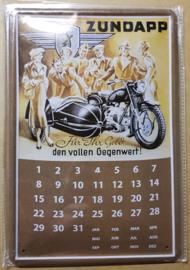 Metaalplaat Zundapp Kalender