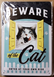 "Metaalplaat Katten ""Beware of the cat"""