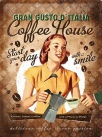 Metaalplaat koffie Gran Gusto d'Italia Coffee House