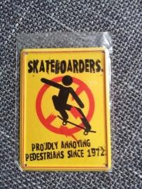"Metaalplaatje ""skateboarders"" 8 x 11 cm"