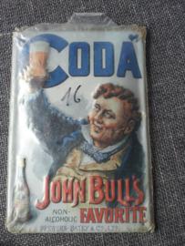 Metaalplaat Coda non alcoholische drank