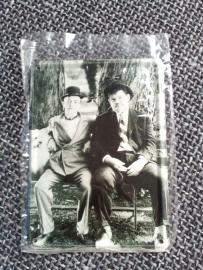 Metaalplaatje Laurel and Hardy 8 x 11 cm