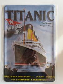 Metaalplaat Titanic (Southhampton - New York)