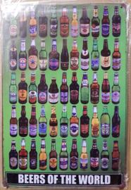 """Metaalplaat bier algemeen """"beers of the world"""""""