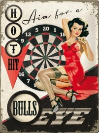 Metaalplaat Pin-up Aime for a Bulls eye