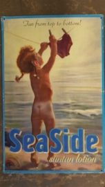 Metaalplaat Sea Side - Sun tan lotion