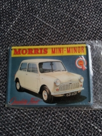 Metaalplaatje Morris Mini Minor 8 x 11 cm