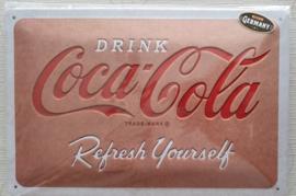 Metaalplaat Coca Cola 20x30cm in reliëf