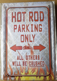 Metaalplaat Hot Rod parking only