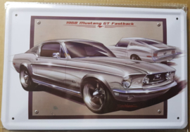 Metaalplaat Ford Mustang 1968 GT Fastback