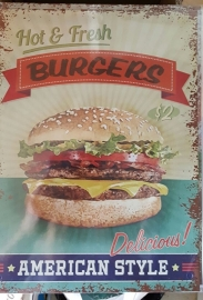 Metaalplaat Burgers American Style