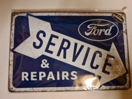 Metaalplaat Ford Service 20 x 30 cm in reliëf