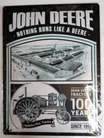 """Metaalplaat John Deere """"100 years"""""""