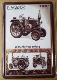 Metaalplaat Lanz D3506 - 20 PS Allzweck Bulldog