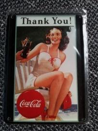 Metaalplaatje Coca Cola 8 x 11 cm