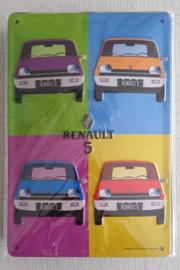 Metaalplaat Renault 5  20x30cm in reliëf