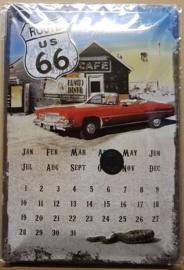 Metaalplaat Route 66 kalender
