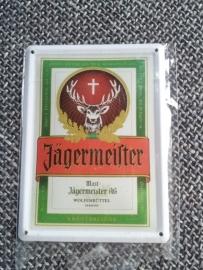 Metaalplaatje Jägermeister 8 x 11 cm