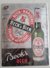 Metaalplaat Beck's 30x40cm in reliëf