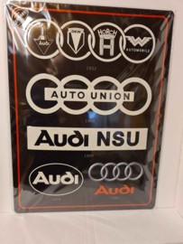 Metaalplaat Audi/Auto Union/Audi NSU  30 x 40 cm in reliëf