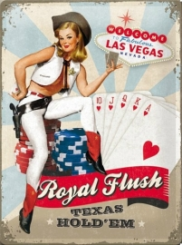 Metaalplaat Pin-up Royal Flush