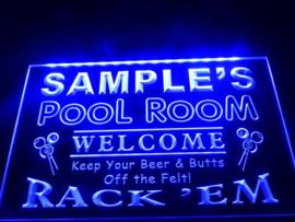 """3D ledverlichting """"Pool Room"""" te personaliseren met je eigen naam!"""