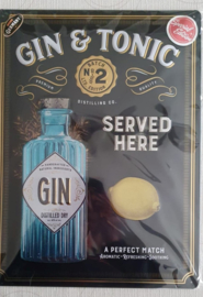 Metaalplaat Gin & Tonic special edition 30x40cm in reliëf