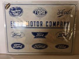 Metaalplaat Ford 30 x 40 cm in reliëf