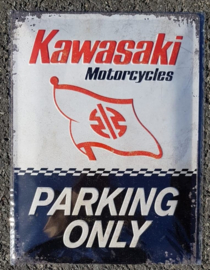 Metaalplaat Kawasaki Parking Only