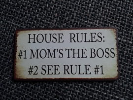 "Magneet spreuk ""House rules"""
