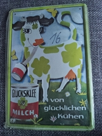 Metaalplaat Glücksklee melk